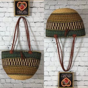 Handbags - Hand Woven Straw Bag with Leather Straps + Closure